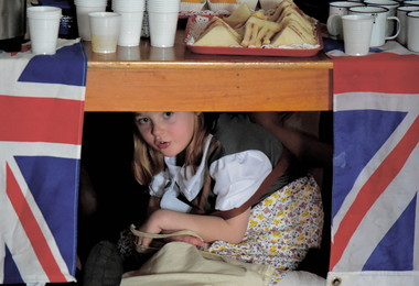 Pre-Prep Girl in Air Raid Shelter for World War II Day