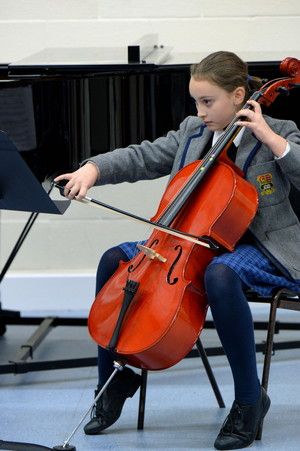 Cellist, prep school girl