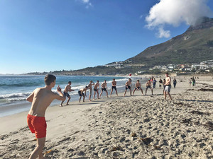 Enjoying cricket on the beach on tour to s africa