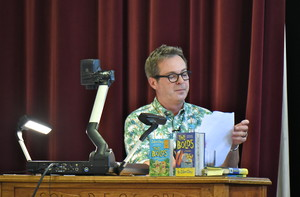 Julian Clary entertaining Prep School pupils