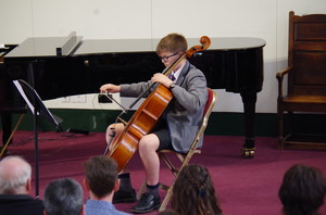 Boy on Cello in Rotary Young Musician Competition