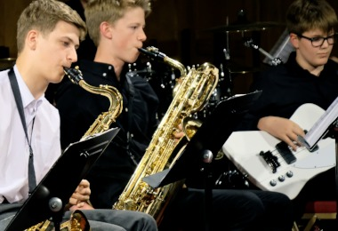 Brass instruments in Senior School Band Night 2018
