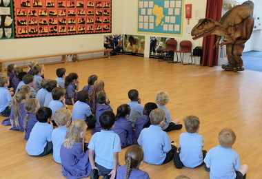 Reception pupils meet T Rex