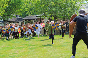 Shell vikings running in battle for viking day