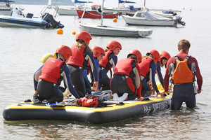 F2 pupils in small boat on Science Cornwall Trip
