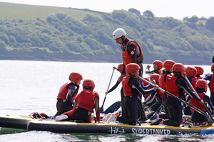 F2 learning to kayak on Science Trip to Cornwall