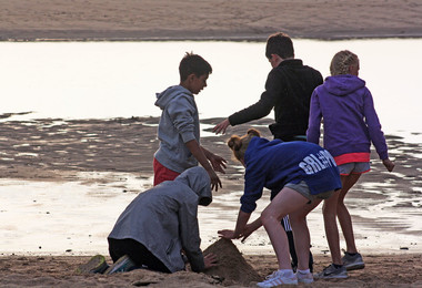 F2 time on the beach on Science trip to Cornwall