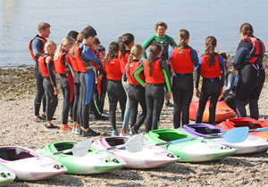 F2 kayaking instructions on Science Trip to Cornwall
