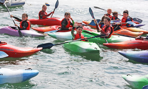 F2 pupils in kayaks on Science Trip to Cornwall