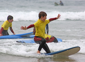 F2 boy surfboarding on Cornwall Science Trip