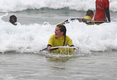 F2 Girl surfboarding on Science Cornwall Trip