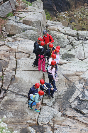 Form 2 climbing on Cornwall Science Trip