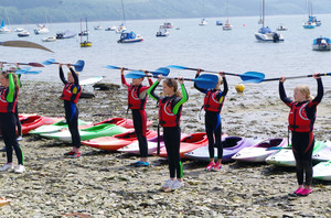 F2 learning kayaking skills on Cornwall Science Trip