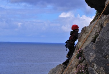 F2 pupil rock climbing on Science Cornwall Trip