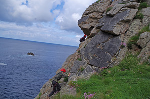F2 pupil climbing on Science Cornwall Trip