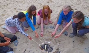 F2 roast marshmallows on the beach Science Trip Cornwall