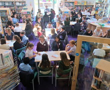 L3 and local school pupils discussing Carnegie books