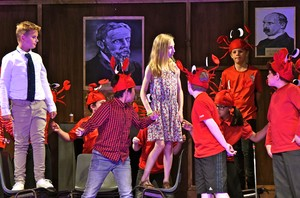 Form 1 Entertains actors in red costumes