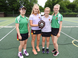 Junior winners of senior school girls house tennis
