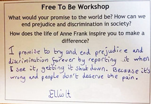 Anne frank workshop lower third postcard