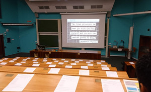 Imperial College lecture hall on visit by L6