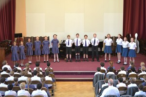 Singers on stage for Prep School House Music 2018