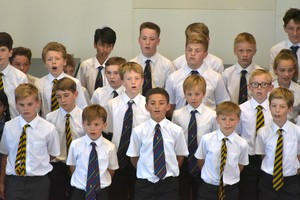 Boys sing in Prep School House Music 2018