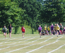 Girls racing for prep school sports day 2018