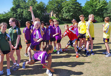 Pupils having fun at prep school sports day 2018