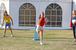 Playing cricket at Grimwade House Supper