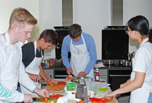 L6 boys cooking at cambridge cookery school 2018