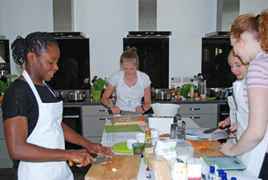 L6 busy cooking at cambridge cookery school