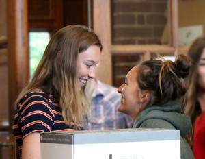 A level girls celebrate results 2018
