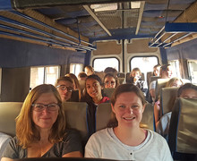 Sixth Formers on bus on Kenya trip 2018