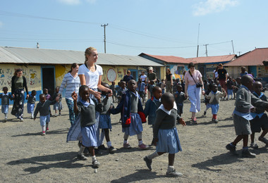 Sixth Formers with schoolchildren Kenya 2018