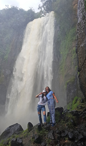 Students by waterfall in Kenya 2018