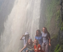 Sixth Form students by waterfall Kenya 2018