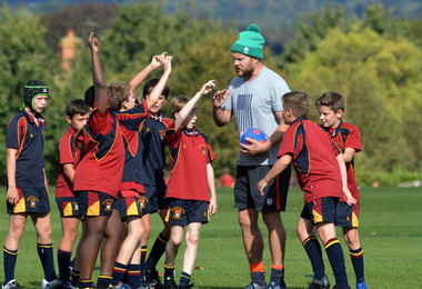 Prep School boys with rugby coach Russell Earnshaw