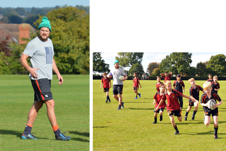 Russell Earnshaw coaches Prep School rugby