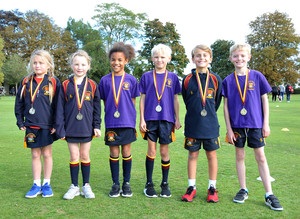 Winners with medals in Prep School Marathon