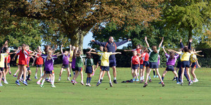 Prep School pupils warming up with Mr Beukes