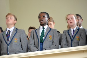 Prep School pupils singing in Harvest Festival