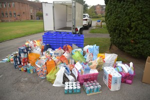 Food parcels for Whitechapel Mission after Harvest Festival