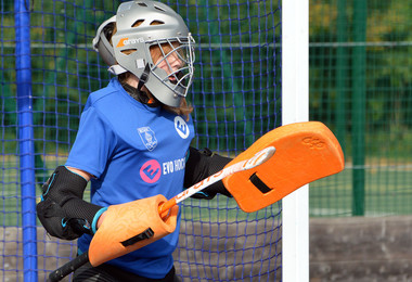 Prep School goalie in Fortitude Hockey session