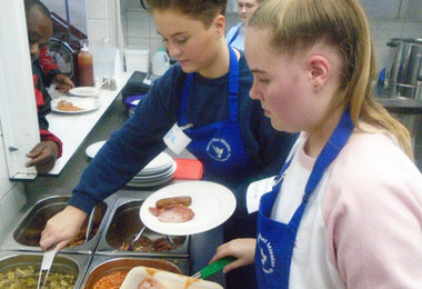 Sixth form students cooking at whitechapel mission