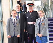 Lord Lieutenant with Prep School headmaster and heads of school