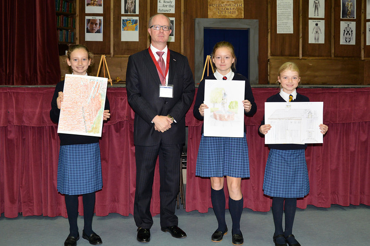 Justin with Prep School art prize winners
