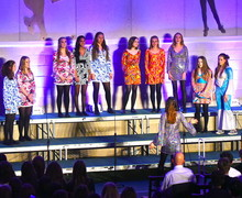 Sixth Form Girls perform walk up in 70s dresses 2018