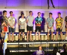 Sixth Form Boys performing walk up at House Music 2018