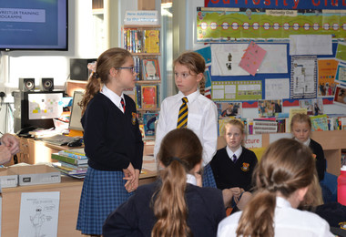Form 2 girls presenting their Curiosity Club projects
